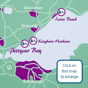 This map shows the location of Pettycur Bay Holiday Park in Fife, Scotland