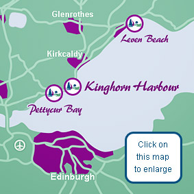 This map shows the location of Kinghorn Harbour Holiday Park in Fife, Scotland